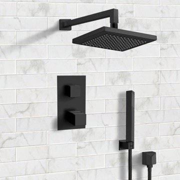 Matte Black Thermostatic Shower System with 8